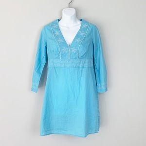 Vineyard Vines Turquoise Beaded Tunic EUC